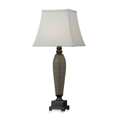 HGTV HOME 1-Light Table Lamp in a Glazed with Painted Pewter Accent