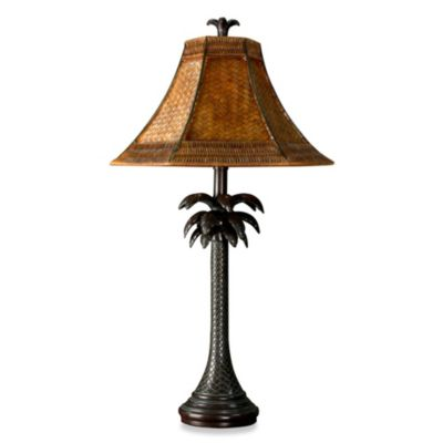 Coastal Palm Tree Table Lamp with Rattan Shade