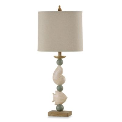 Tropical/Coastal Sandstone & Antique Blue Table Lamp