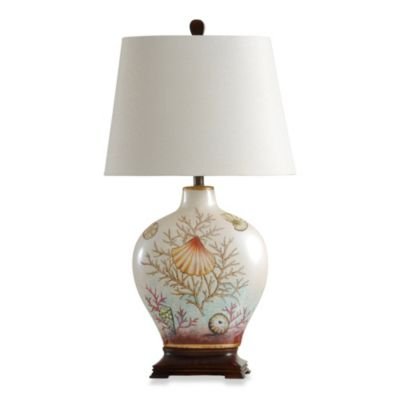 StyleCraft Coastal Coral Bay Ceramic Table Lamp