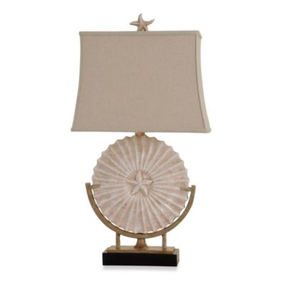 Sand Dollar and Starfish Table Lamp in Sandstone
