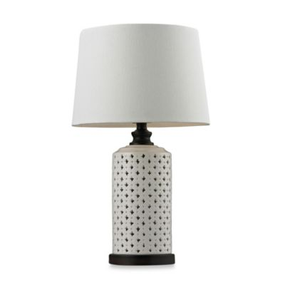 HGTV HOME Cream Glaze Table Lamp with White Cotton Shade