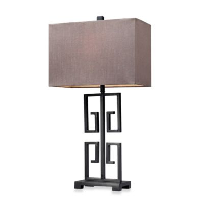 HGTV HOME Dark Bronze Table Lamp with Taupe Nylon Shape