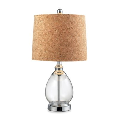 HGTV HOME Clear Table Lamp with Cork Shade
