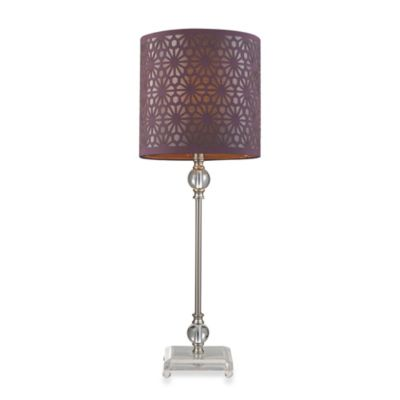 HGTV HOME Brushed Steel Table Lamp with Plum Nylon Shade