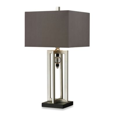 HGTV HOME Silver Leaf and Black Table Lamp