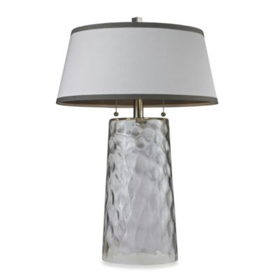 HGTV HOME Clear Table Lamp with White Faux Silk Shade