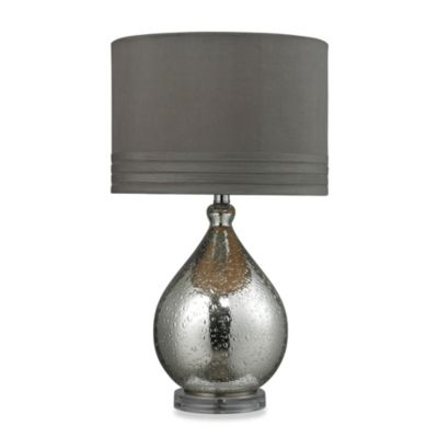 HGTV HOME Mercury Glass Table Lamp with Grey Taupe Faux Shade