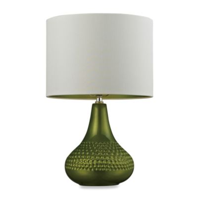 Lime Table Lamp with Faux Silk Shade