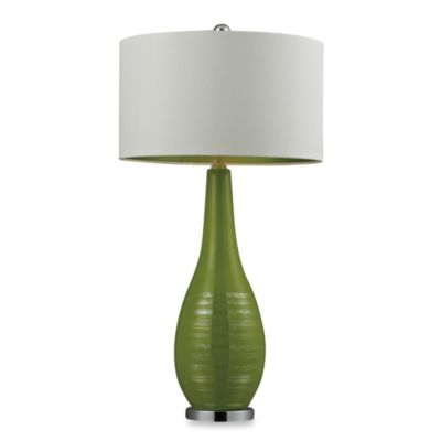 Lime Green with Silver Accents Table Lamp with White Shade