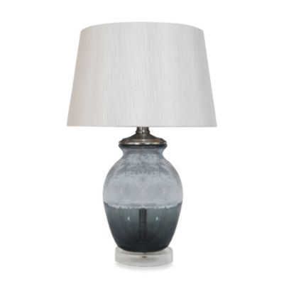 Grey Crackle Table Lamp with Faux Silk Shade
