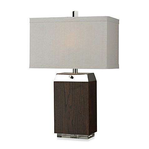 hgtv home dark wood veneer and silver plated table lamp bed bath beyond. Black Bedroom Furniture Sets. Home Design Ideas