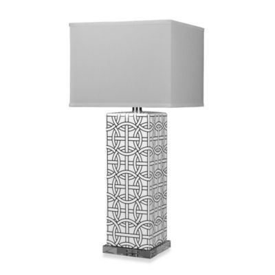 HGTV HOME Gloss White Table Lamp with Faux Silk Shade