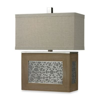 HGTV Home Table Lamp in Bleached Wood and Chrome Accents