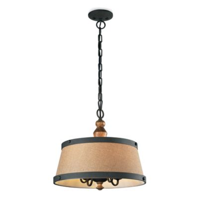 4-Light Pendant in Colonial Maple/Vintage Rust