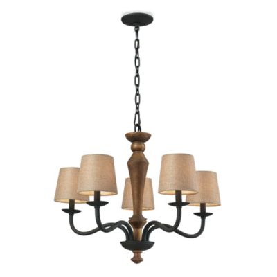 HGTV Home 5-Light Chandelier in Colonial Maple/Vintage Rust
