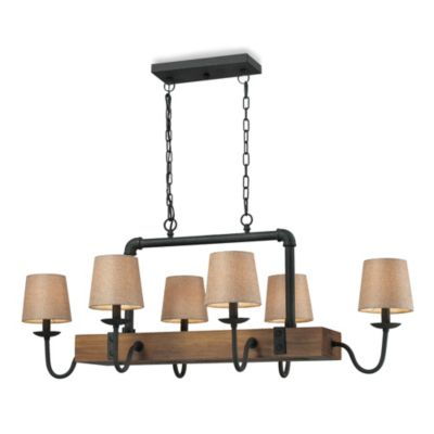 6-Light Chandelier in Colonial Maple/Vintage Rust
