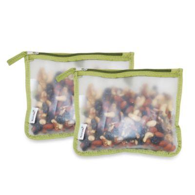BlueAvocado® (re) Zip 2-Pack Snack Bags in Green Trim