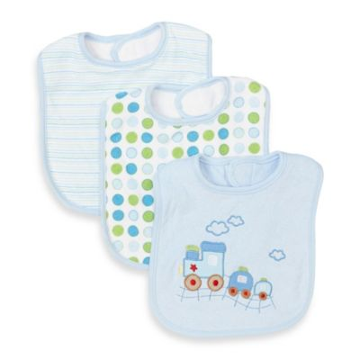 SpaSilk® 3-Pack Terry Bib Set in Blue Train