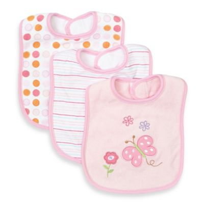 SpaSilk® 3-Pack Terry Bib with Butterfly Applique in Pink