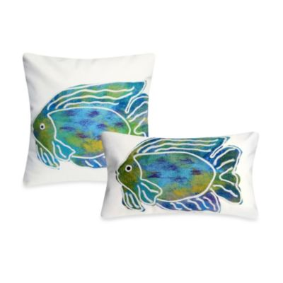 Liora Manne 20-Inch Square Outdoor Throw Pillow in Batik Fish Aqua