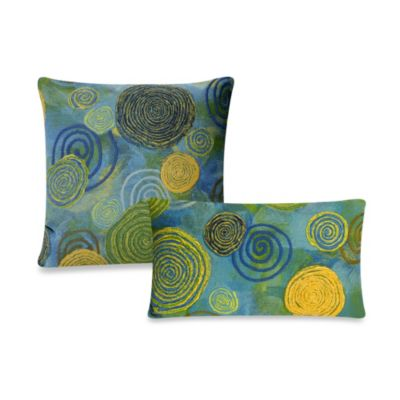 Liora Manne Oblong Outdoor Throw Pillow in Graffiti Swirl Cool