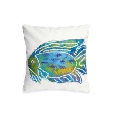 Liora Manne 20-Inch Square Outdoor Throw Pillow in Batik Fish Aqua