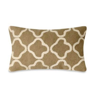 Liora Manne Crochet Tile 12-Inch x 20-Inch Oblong Throw Pillow in Linen