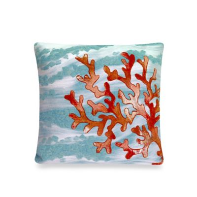 Liora Manne 20-Inch Square Outdoor Throw Pillow in Coral Wave Aqua