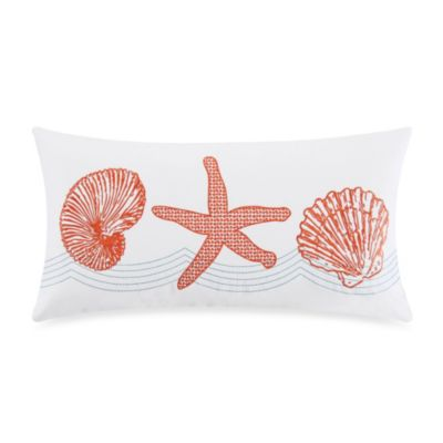 Catalina Embroidered Oblong Toss Pillow in Coral