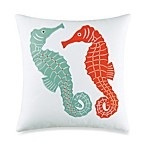 Catalina Seahorse Applique Square Toss Pillow in Coral