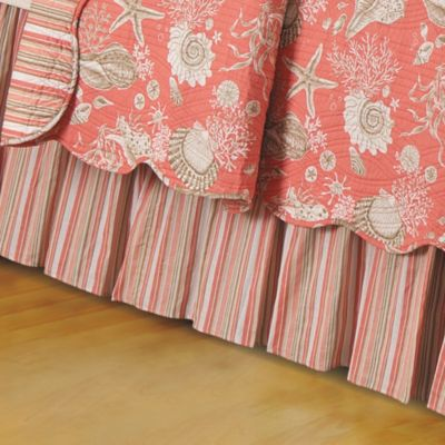 Natural Shells King Bed Skirt in Coral
