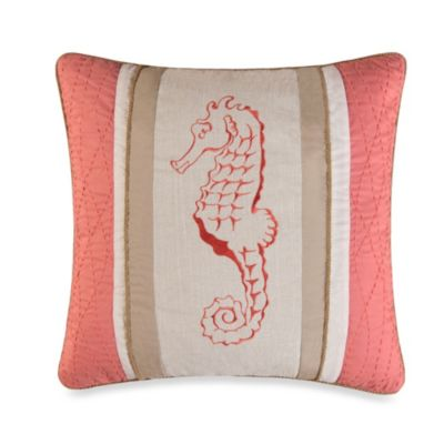 Natural Shells Seahorse Square Toss Pillow in Coral