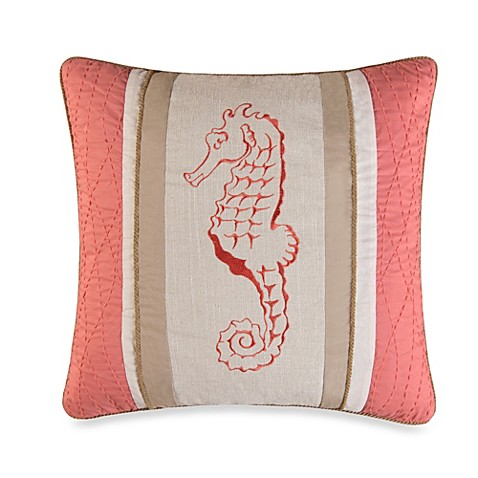 Natural Shells Seahorse Square Throw Pillow in Coral
