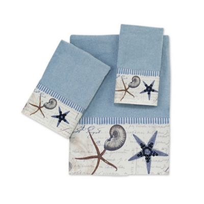 Blue Shell Bath Towels