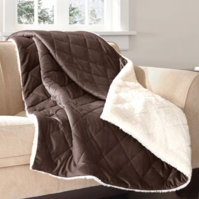 The Seasons Collection® Mink to Berber Down-Alternative Filled Reversible Throw in Chocolate