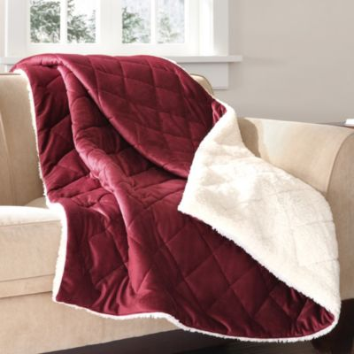 The Seasons Collection® Mink to Berber Down-Alternative Filled Reversible Throw in Red