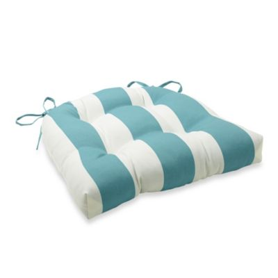 3.5-Inch Thick Tufted Cushion with Ties in Cabana Stripe