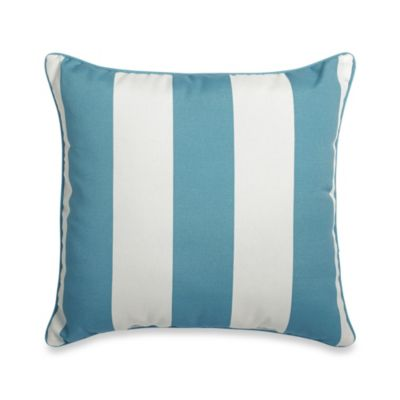 17-Inch Square Reversible Toss Pillow in Cabana Stripe/Blue