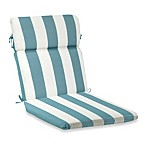 Reversible High-Back Cushion with Ties in Cabana Stripe/Blue