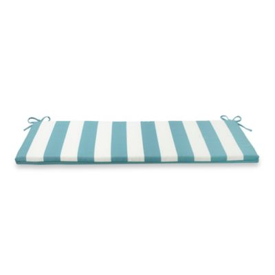 Reversible Bench Cushion with Ties in Cabana Stripe/Blue