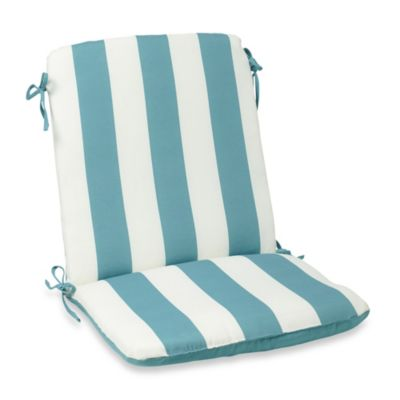Reversible Mid-Back Cushion with Ties in Cabana Stripe/Blue