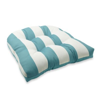 4.5-Inch Thick Tufted Cushion in Cabana Stripe/ Blue