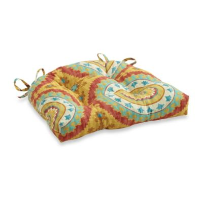 3.5-Inch Thick Tufted Cushion with Ties in Sunset