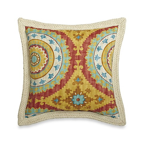 18-Inch Square Decorative Pillow with Trim in Sunset - Bed Bath & Beyond
