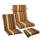 Outdoor Seat Cushion Collection in Chocolate Stripe