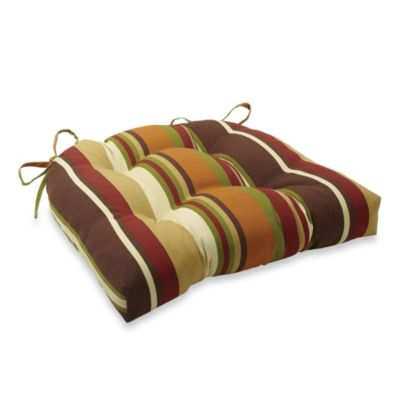 3.5-Inch Thick Tufted Cushion with Ties in Chocolate Stripe