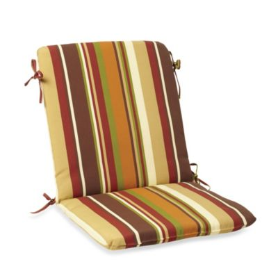Mid-Back Cushion with Ties in Chocolate Stripe