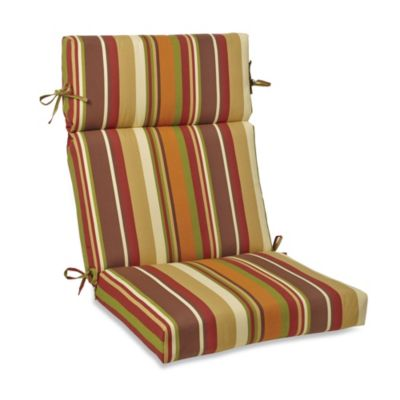 High-Back Cushion with Ties in Chocolate Stripe