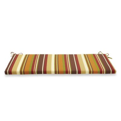 Bench Cushion with Ties in Chocolate Stripe